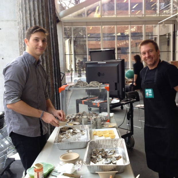 Deniz Bertuna and Chris Johnson help us with preparations for serving oysters on the half shell to critics.