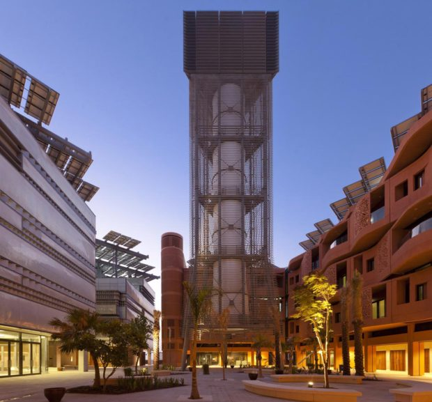 Masdar Institute Courtyard showing the wind tower. Image Copyright: Nigel Young/ Foster+Partners